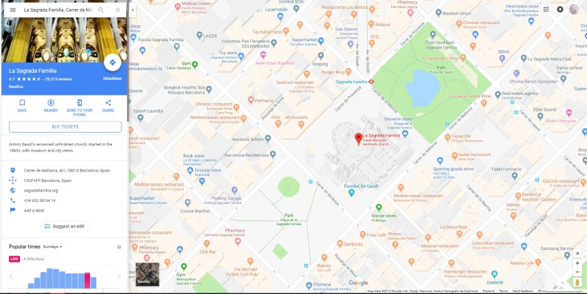 Karte von La Sagrada Familia in Barcelona