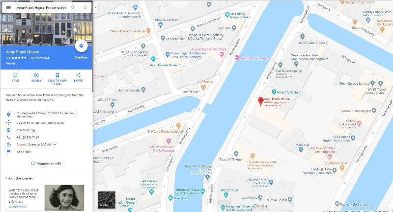 Anne Frank House Map
